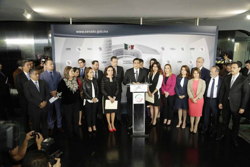 Senador Ismael García Cabeza de Vaca, Conferencia de prensa de los senadores del PAN, encabezados por el Coordinador Damián Zepeda Vidales