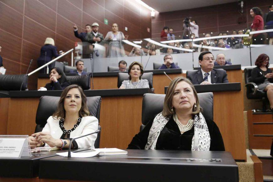 Kenia López Rabadán, Comisión de Derechos Humanos, Mayuli Latifa Martínez Simón, Gina Andrea Cruz, Xóchitl Gálvez Ruiz.