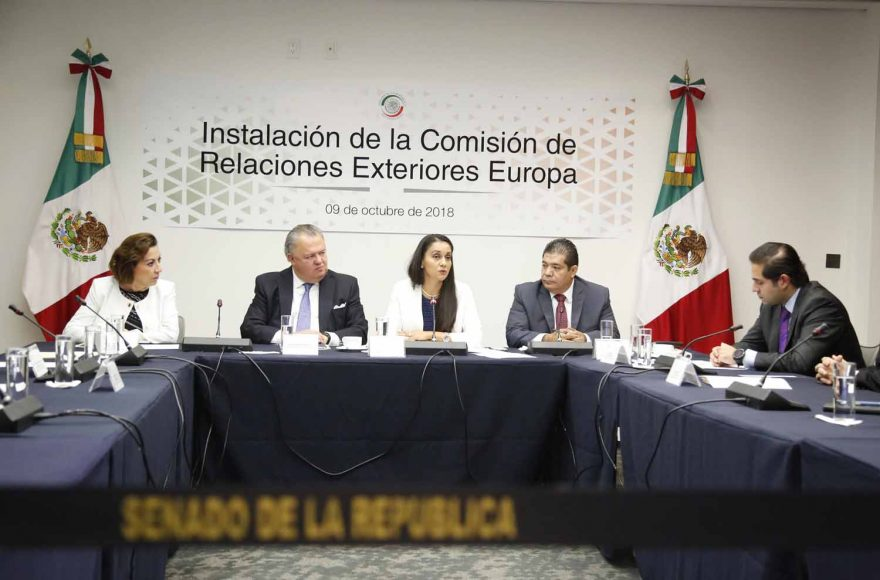 La senadora panista María Guadalupe Murguía Gutiérrez, al participar como integrante en la reunión de Instalación Comisión de Relaciones Exteriores Europa.