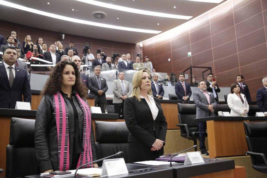 La senadora panista Alejandra Noemí Reynoso Sánchez, durante la reunión de Instalación de la Comisión de Asuntos Fronterizos y Migratorios.