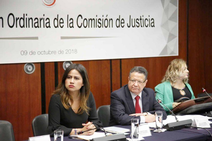 Las senadoras del PAN Nadia Navarro Acevedo e Indira Rosales San Román, así como el coordinador, Damián Zepeda Vidales, durante su participación en la segunda reunion de trabajo de la Comisión de Justicia.