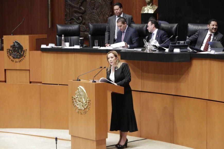 senadora Alejandra Noemí Reynoso Sánchez, durante la comparecencia de Luis Videgaray Caso, secretario de Relaciones Exteriores, en el marco del Análisis del VI Informe de Gobierno, en materia de política exterior