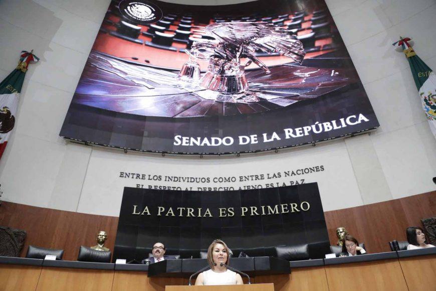 Senadora Minerva Hernández Ramos, al presentar una iniciativa que se deroga el párrafo cuarto de la fracción IV del artículo 74 de la Constitución
