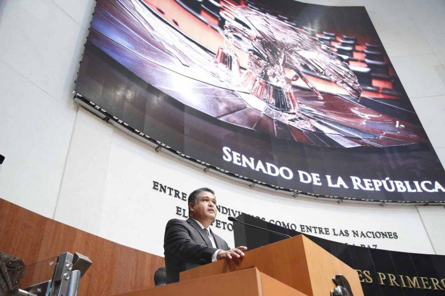Senador Víctor Oswaldo Fuentes Solís, durante la comparecencia de Ildefonso Guajardo Villarreal, secretario de Economía, en el marco del Análisis del VI Informe de Gobierno, en materia de política económica