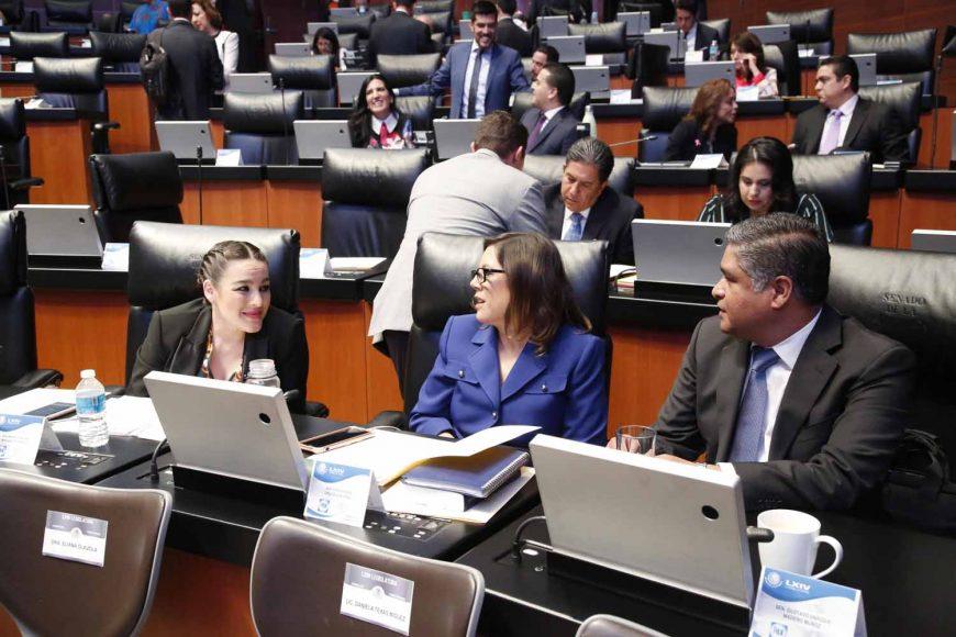 Senadores del PAN, Martha Cecilia Márquez Alvarado, Senadora Gina Andrea Cruz, Senador Víctor Oswaldo Fuentes Solís, comparecencia, secretario de Gobernación Alfonso Navarrete Prida