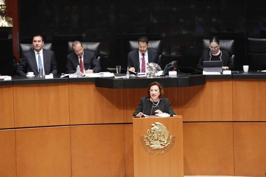 Senadora María Guadalupe Murguía Gutiérrez al intervenir en tribuna