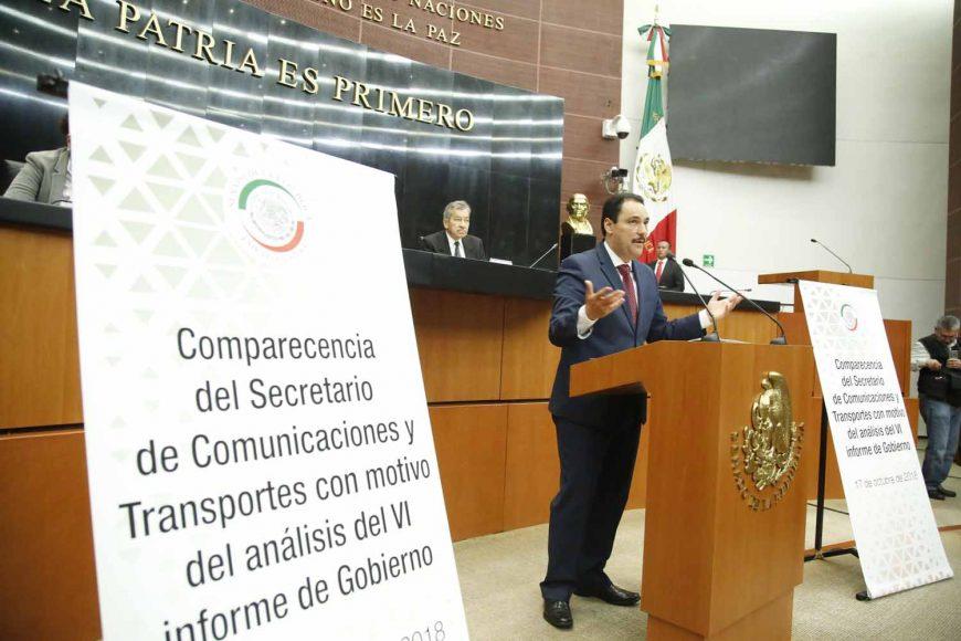Senador Juan Antonio Martín del Campo al intervenir durante comparecencia del titular de la SCT