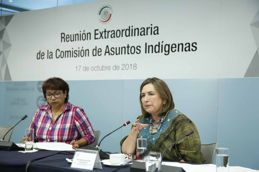 Senadora Xóchitl Gálvez Ruiz, al participar en la reunión de la Comisión de Asuntos Indígenas respecto a las acciones para llevar a cabo la consulta nacional a los foros que se realizarán en distintas entidades federativas