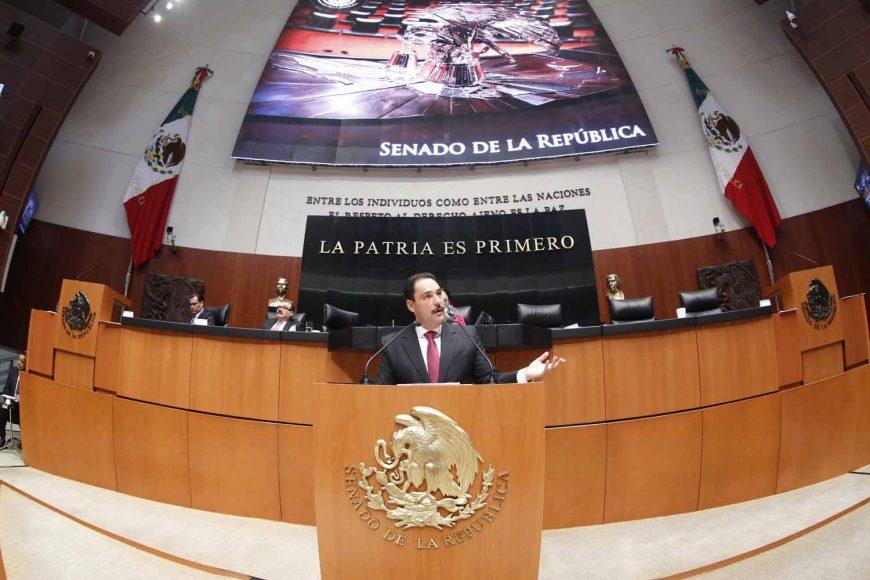 Senador Juan Antonio Martín del Campo al intervenir en Tribuna