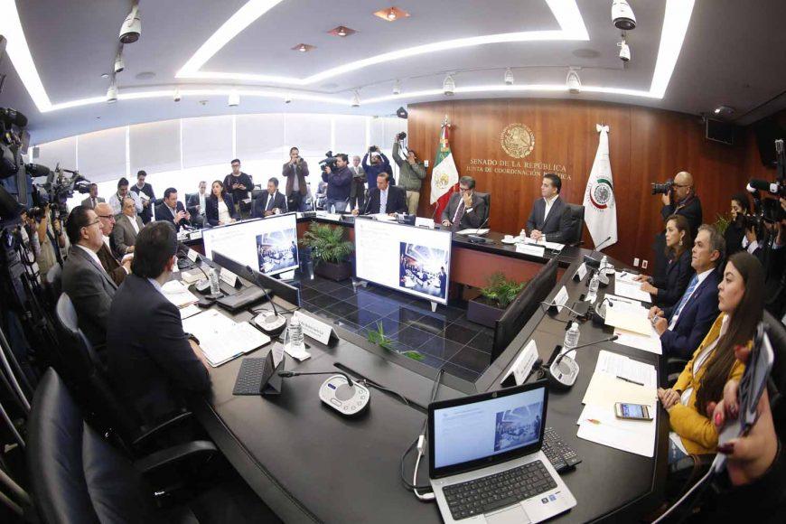 Senadora Josefina Vázquez Mota, y el Coordinador del PAN, Damián Zepeda Vidales, durante la la reunión de la Junta de Coordinación Política