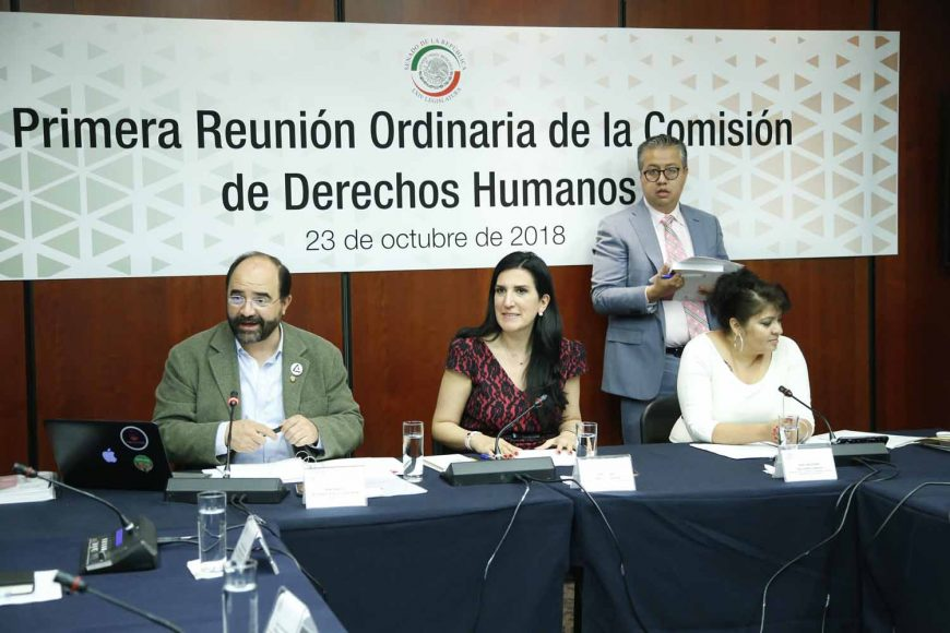 La senadora Kenia López Rabadán presidió la reunión de trabajo de la Comisión de Derechos Humanos; participó el senador panista Mauricio Kuri Gónzalez.
