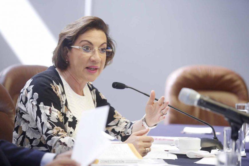 La senadora panista María Guadalupe Murguía Gutiérrez presidió la reunión extraordinaria de la Comisión de Puntos Constitucionales.