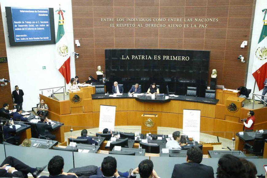 Senadora Indira Rosales San Román, en la comparecencia del titular de la Sedesol, Eviel Pérez Magaña, ante la Comisión de Desarrollo y Bienestar Social