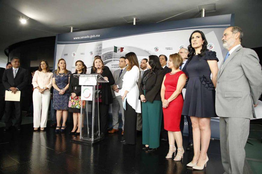 Senadora Xóchitl Gálvez Ruiz, Conferencia de prensa de las y los senadores del PAN, encabezados por el coordinador, Damián Zepeda Vidales.