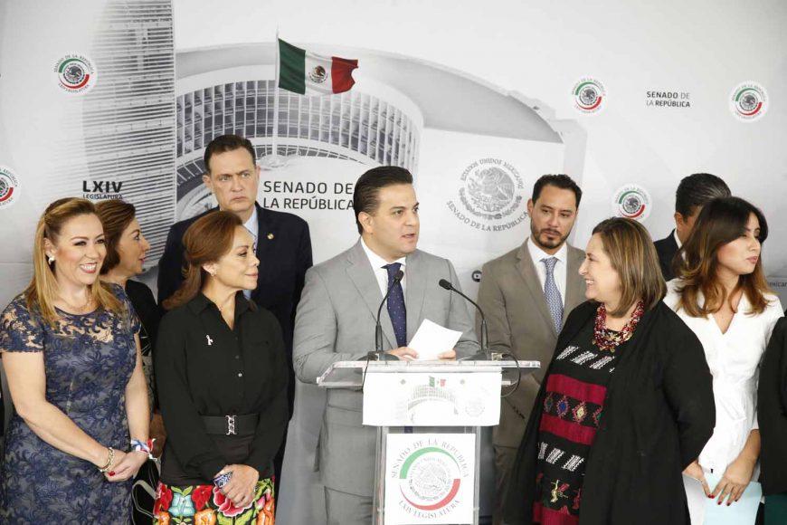 Conferencia de prensa de las y los senadores del PAN, encabezados por el coordinador, Damián Zepeda Vidales.
