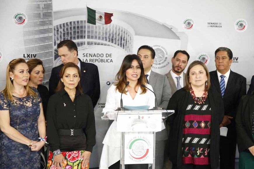 Senadora Indira Rosales San Román, Conferencia de prensa de las y los senadores del PAN, encabezados por el coordinador, Damián Zepeda Vidales.