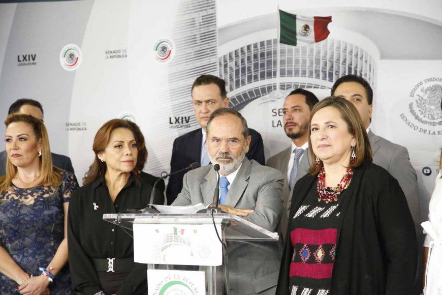 Senador Gustavo Madero Muñoz, Conferencia de prensa de las y los senadores del PAN, encabezados por el coordinador, Damián Zepeda Vidales.