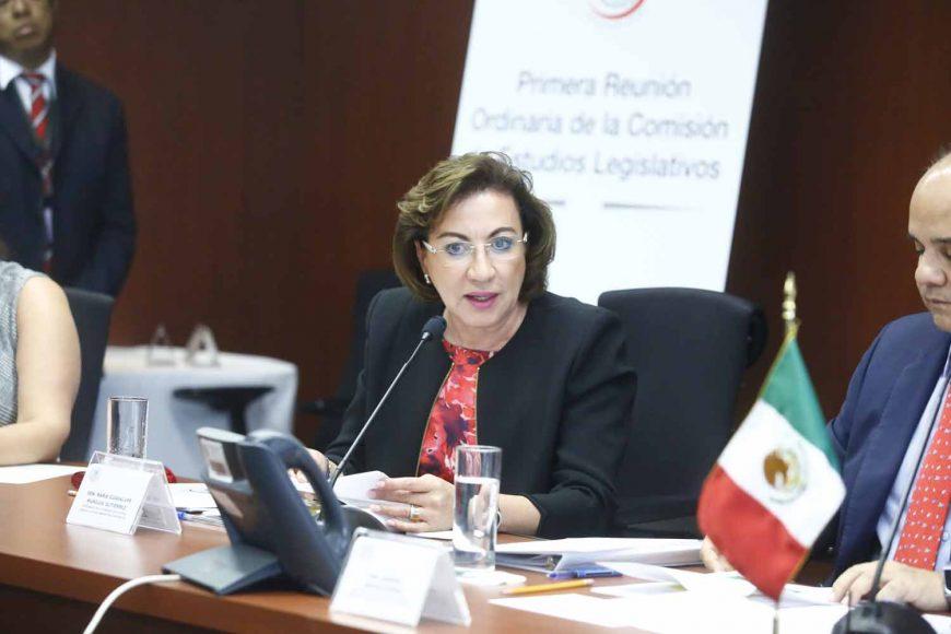 La senadora panista María Guadalupe Murguía Gutiérrez, durante la reunión de trabajo de la Comisión de Estudios Legislativos.