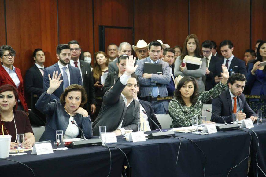 Durante la reunión de trabajo de las Comisiones Unidas de Justicia y de Puntos Constitucionales participaron las senadoras Gloria Elizabeth Núñez, María Guadalupe Murguía Gutiérrez, Nadia Navarro Acevedo y el coordinador del PAN, Damián Zepeda Vidales.