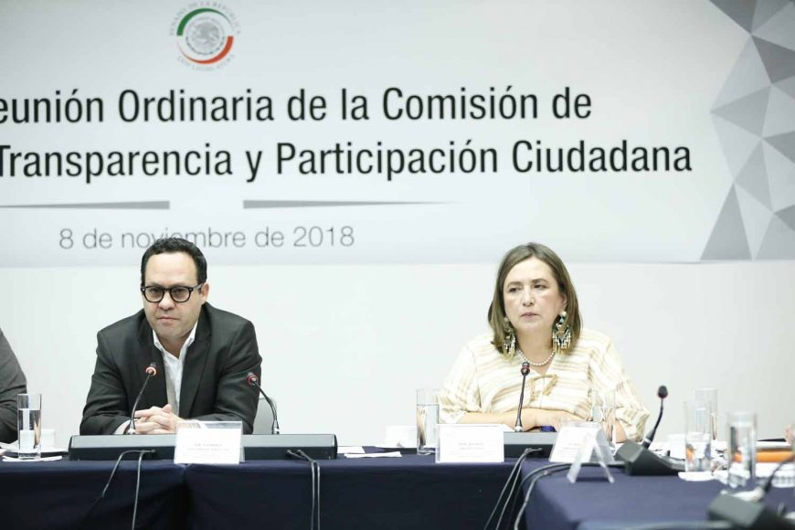La senadora Xóchitl Gálvez Ruiz, durante la reunión ordinaria de la Comisión Anticorrupción, Transparencia y Participación Ciudadana.