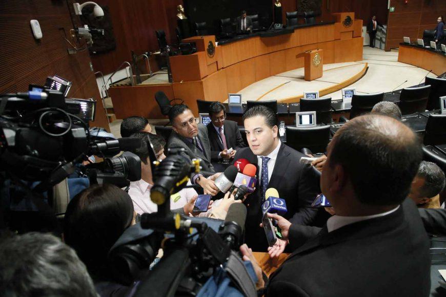 Entrevista al Damián Zepeda, coordinador de los senadores del PAN, al término de la sesión.