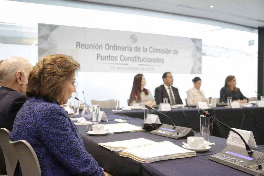 Las senadoras panistas Gloria Elizabeth Núñez y María Guadalupe Murguía Gutiérrez participaron en la reunión extraordinaria de trabajo de la Comisión de Puntos Constitucionales, en la que se analizaron diversos anteproyectos de dictamen en materia de austeridad, revocación de mandato y prisión preventiva oficiosa.