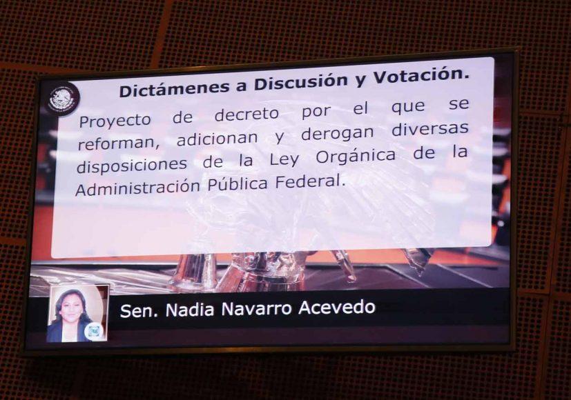 Senadora Nadia Navarro Acevedo, al presentar el posicionamiento del GPPAN en relación con un dictamen de las comisiones unidas de Gobernación y de Estudios Legislativos, por el que se reforman, adicionan y derogan diversas disposiciones de la Ley Orgánica de la Administración Pública Federal