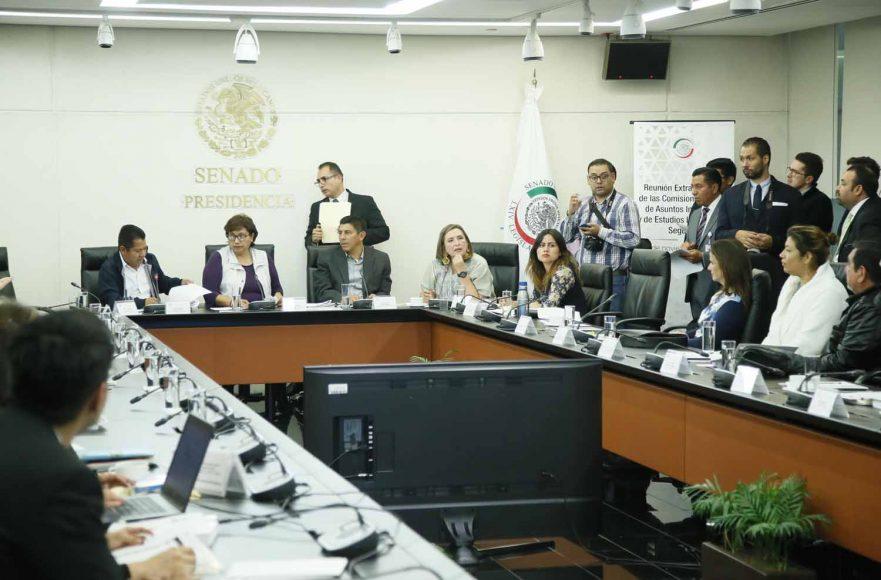 Participación de la senadora del PAN Xóchitl Gálvez Ruiz, Indira Rosales San Román y Marco Antonio Gama Basarte, durante la reunión de las Comisiones Unidas de Asuntos Indígenas y de Estudios Legislativos, Segunda.