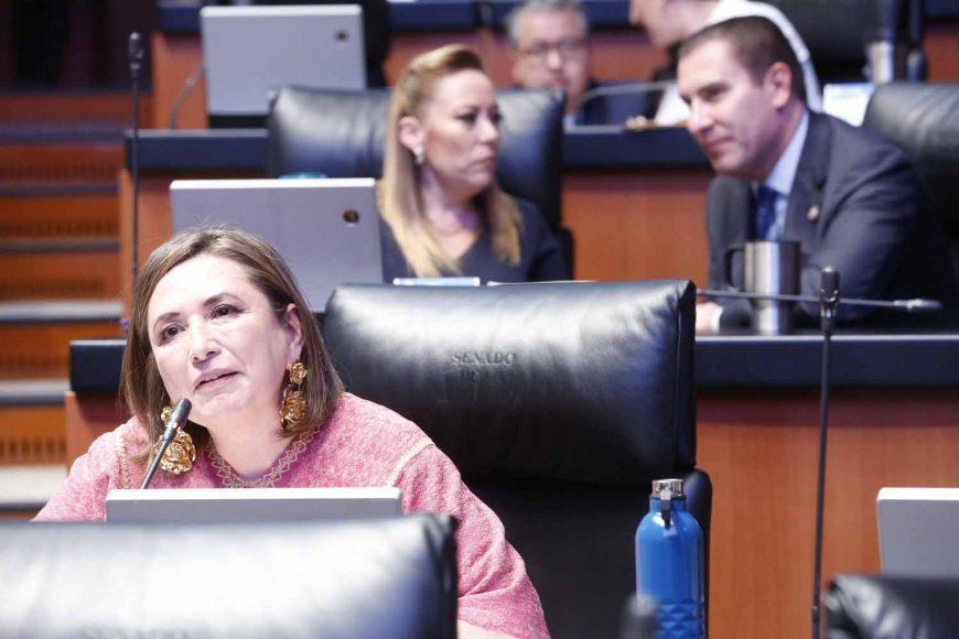 Intervención desde su escaño de la senadora del PAN, Xóchitl Gálvez Ruiz, para referirse a la solicitud de licencia de la senadora Olga Sánchez Cordero.