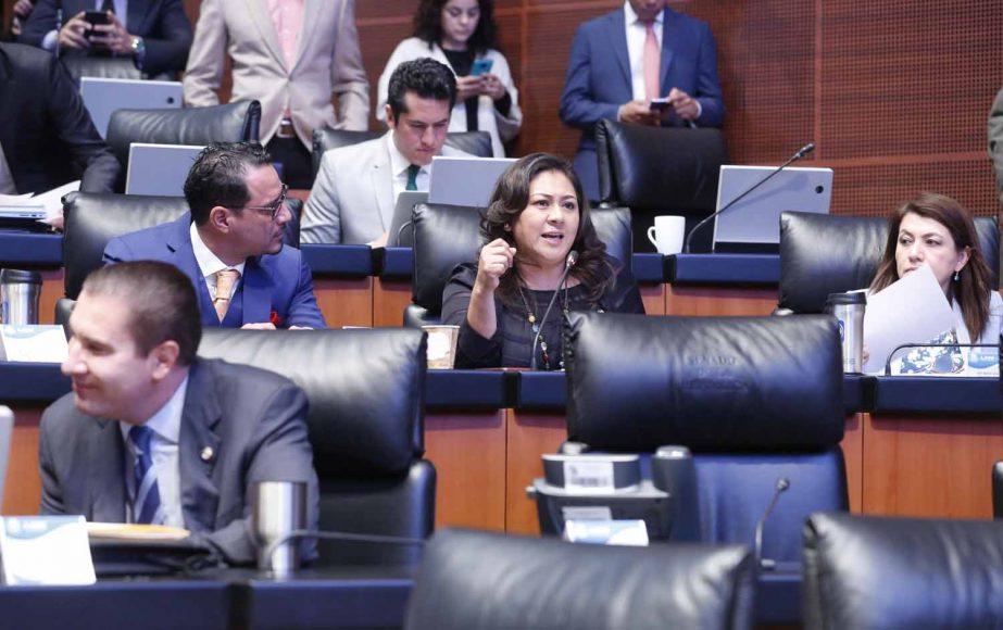 Intervención desde su escaño de la senadora del PAN, Nadia Navarro Acevedo, para referirse a la solicitud de licencia de la senadora Olga Sánchez Cordero.