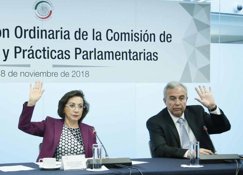 Participación de la senadora del PAN María Guadalupe Murguía Gutiérrez, durante la segunda reunión ordinaria de la Comisión de Reglamentos y Prácticas Parlamentarias.