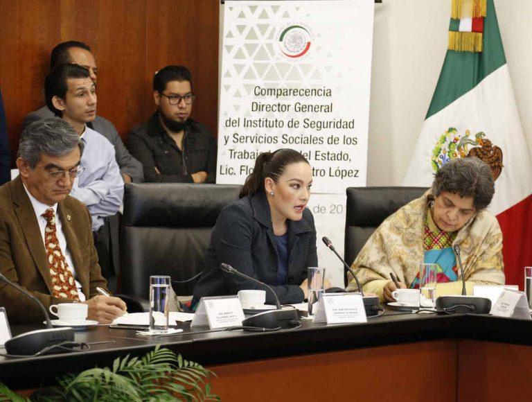 La senadora panista Martha Cecilia Márquez Alvarado, al participar en la comparecencia del Director General del Instituto de Seguridad y Servicios Sociales de los Trabajadores del Estado (Issste) ante la Comisión de Salud