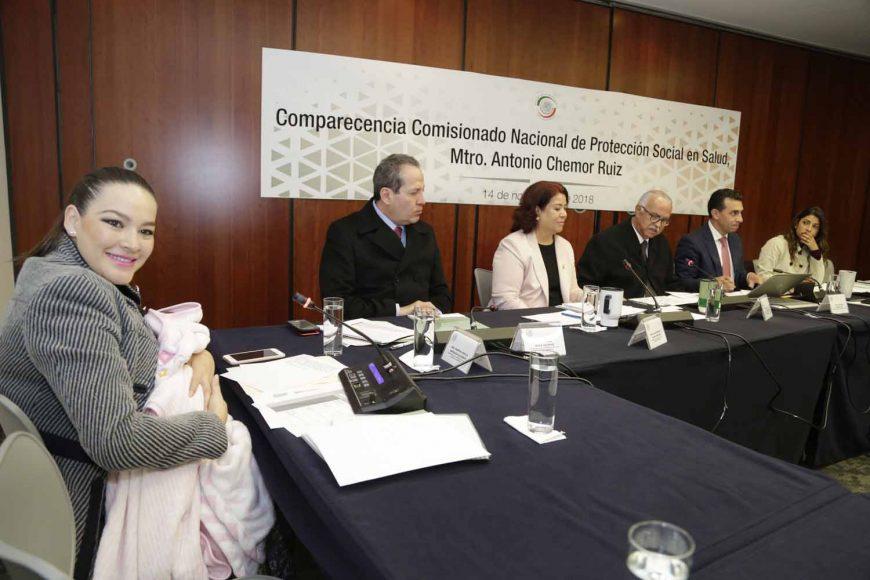 La senadora Martha Cecilia Márquez Alvarado durante la comparecencia del comisionado nacional de Protección Social en Salud, Seguro Popular, Antonio Chemor Ruiz, ante la Comisión de Salud del Senado de la República.