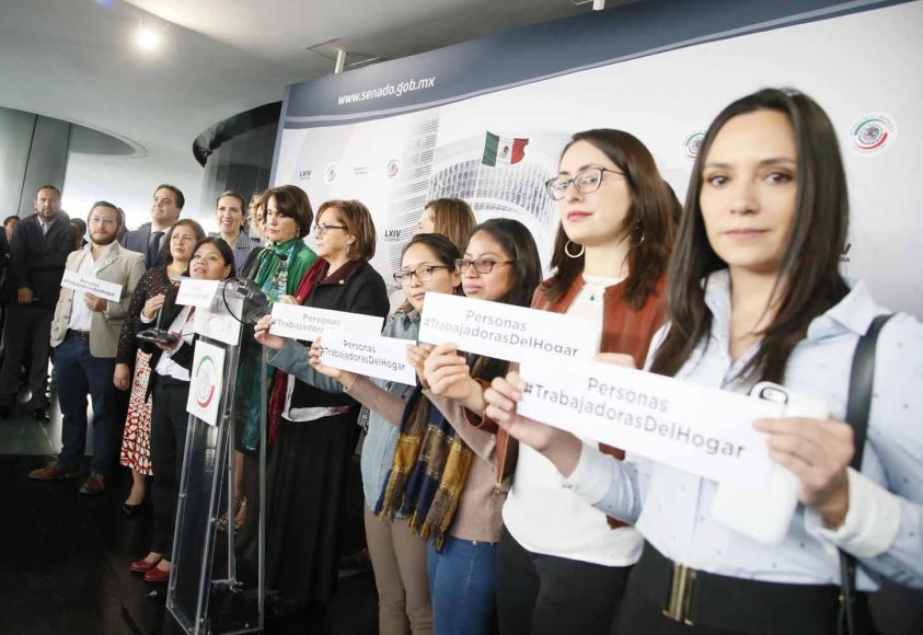 Conferencia de la senadora Xóchitl Gálvez Ruiz y senadores de otros partidos en materia de personas trabajadoras del hogar