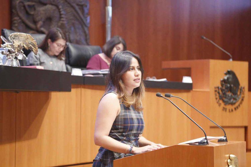 Senadora Indira Rosales San Román al participar en la discusión de un dictamen de la Comisión de Cultura
