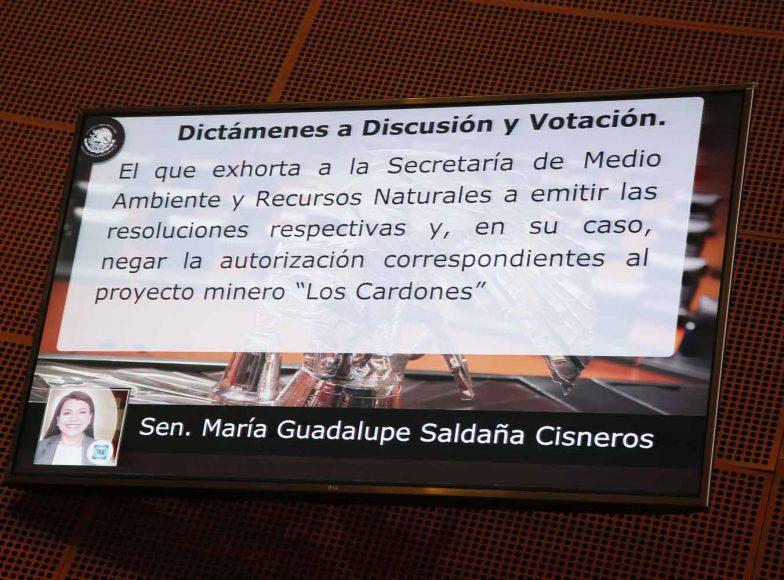 """Intervención en tribuna de la senadora María Guadalupe Saldaña Cisneros, al participar en la discusión de un dictamen de la Comisión de Medio Ambiente, Recursos Naturales y Cambio Climático, el que contiene punto de acuerdo, que exhorta a la Secretaría de Medio Ambiente y Recursos Naturales a emitir las resoluciones respectivas y, en su caso, negar la autorización correspondientes al proyecto minero """"Los Cardones"""", que se pretende realizar en el área natural protegida Reserva de la Biósfera Sierra La Laguna, en Baja California Sur; asimismo, solicita un informe sobre el estado que guarda el procedimiento de evaluación del impacto ambiental del proyecto """"Don Diego"""", en el Golfo de Ulloa, localizado en el litoral del Océano Pacífico"""