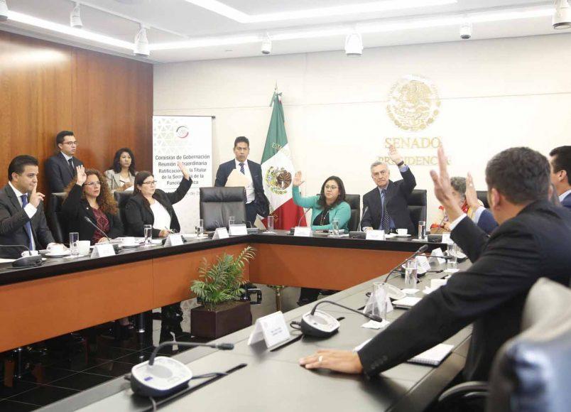 Durante la reunion extraordinaria de la Comisión de Gobernación, participaron las senadoras Nadia Navarro Acevedo, Indira Rosales San Román y el senador panista Damián Zepeda Vidales.