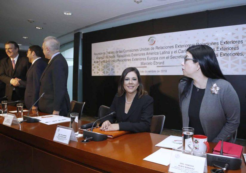 La senadora Gina Cruz Blackledge, durante la reunión de las Comisiones Unidas, con el Secretario de Relaciones Exteriores, Lic. Marcelo Luis Ebrard Casaubón