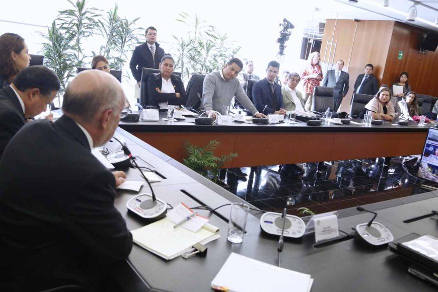 La senadora Xóchitl Gálvez Ruiz, durante la reunión de trabajo de la Comisión de Justicia