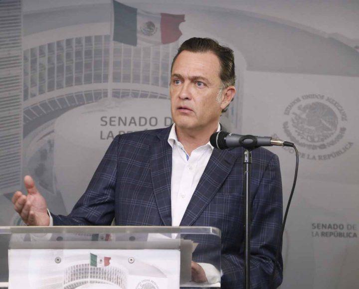 Mensaje del coordinador de los senadores del PAN, Mauricio Kuri González, en la conferencia conjunta con los coordinadores parlamentarios de PRI y PRD