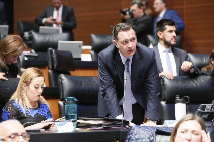 El coordinador de los senadores del PAN, Mauricio Kuri González,al intervenir desde su escaño