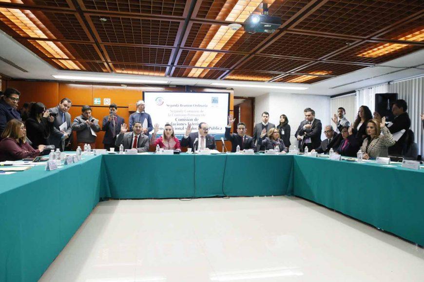 La senadora Alejandra Reynoso Sánchez, durante su participación en la segunda reunión ordinaria de la Segunda Comisión de Relaciones Exteriores, Defensa Nacional, y de Educación Pública.