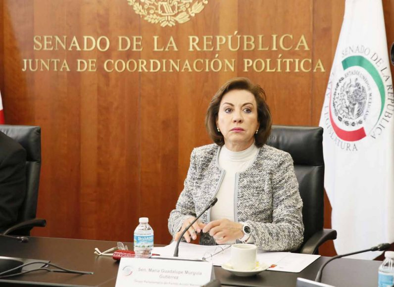 Senadora Guadalupe Murguía Gutiérrez, durante la reunión de la Junta de Coordinación Política