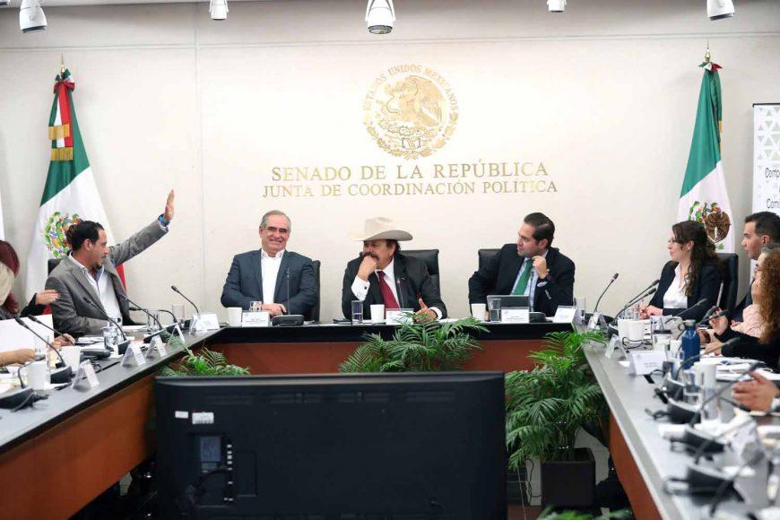 La senadora Xóchitl Gálvez Ruiz y los senadores Julen Rementería Del Puerto y Raúl Paz Alonzo, al participar en la reunión de la Comisión de Energía con los candidatos propuestos por el presidente Andrés Manuel López Obrador a la Comisión Reguladora de Energía (CRE).