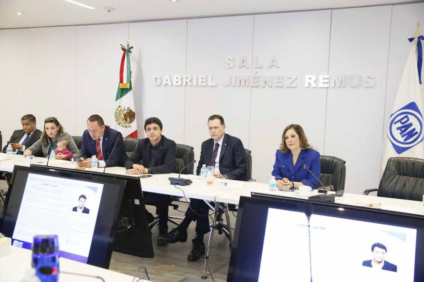 Senadores del PAN en reunión con Lorent Saleh, líder y activista venezolano