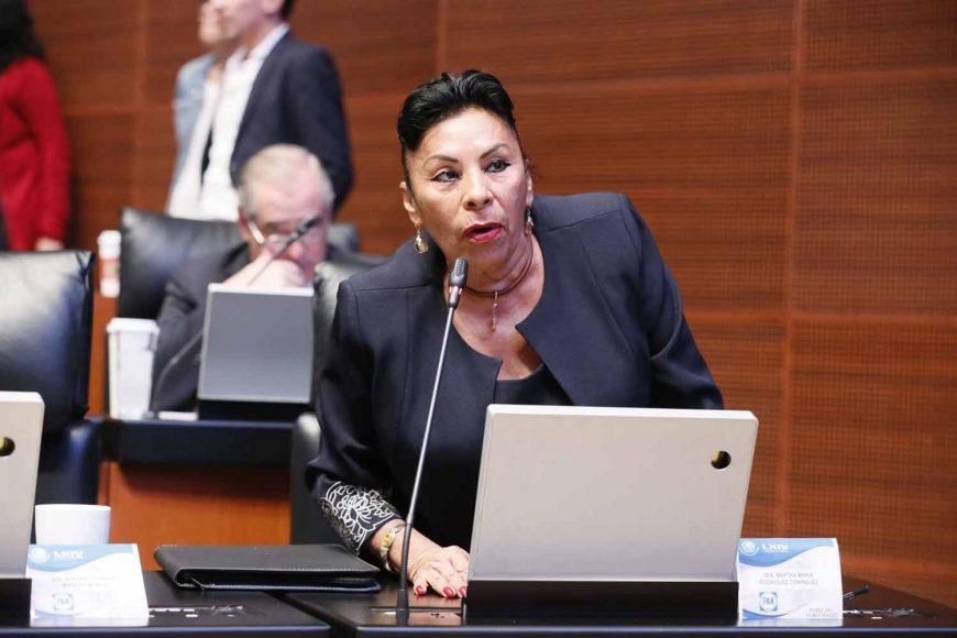 Senadora Martha Rodríguez Domínguez al intervenir desde su escaño