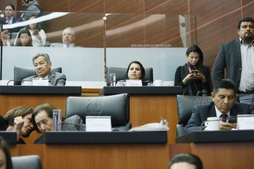 """La senadora del PAN Mayuli Martínez Simón, durante las ponencias del Bloque 2 de la Mesa de Trabajo 4, """"Federalismo y seguridad pública"""", en el marco del Parlamento Abierto para el tema de la Guardia Nacional."""