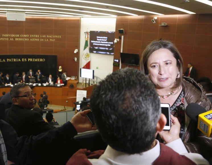 La senadora Xóchitl Gálvez Ruiz, durante la Mesa de Trabajo para el Fortalecimiento del Congreso en materia de Parlamento Abierto convoca a la Audiencia Pública con el tema: Federalismo y Seguridad Pública.