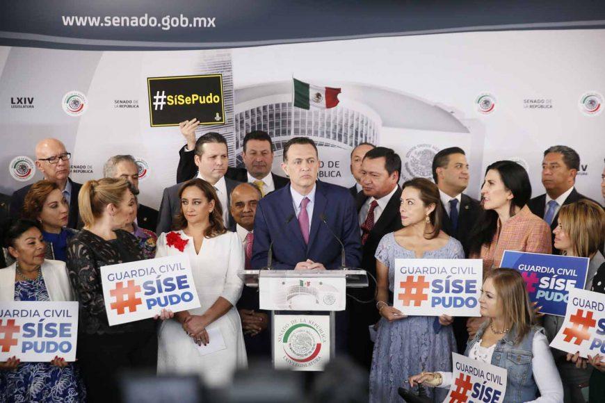 Intervención del Coordinador de las y los senadores del PAN, Mauricio Kuri González, durante la conferencia del bloque opositor en el tema de Guardia Civil.