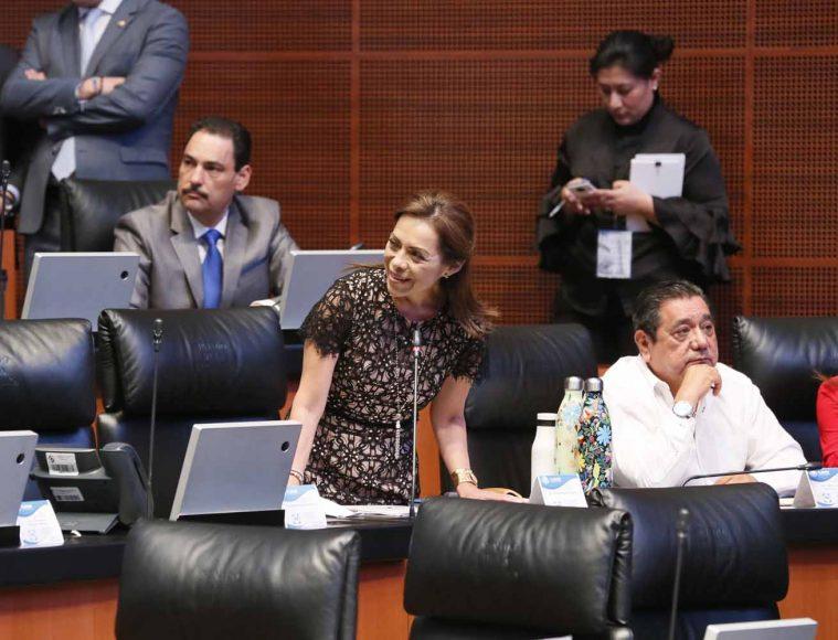 Senadora Josefina Vázquez Mota al participar desde su escaño